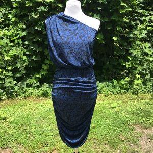 Silky One Shoulder Ruched Dress Drop Waist XS